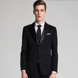 $enCountryForm.capitalKeyWord Australia - Tailor made men suits slim fit men wedding suits black lapel single breasted groomsman party feast tuxedos suits(jacket+pants)
