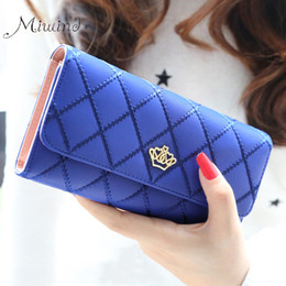 Wristlet Phone Holder Canada - Wholesale- 2017 Cute Crown Luxury Trifold Plaid Leather Women Brand Long Wallet Wristlet Female Clutch Purse Phone Coin Card Holder Cuzdan