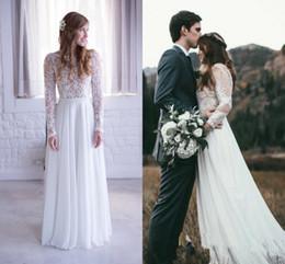 $enCountryForm.capitalKeyWord NZ - Romantic Bohemian A Line Wedding Dresses With Sheer Long Sleeves Jewel Neck White Chiffon Spring Boho Bridal Gowns For Beach Garden