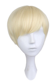 China Short Straight Cosplay Party Costume Wig Men Boy Party Blonde 30 Cm Synthetic Hair Wigs suppliers