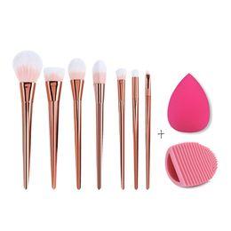 $enCountryForm.capitalKeyWord UK - Rose Golden 7Pcs Makeup Brushes Set Foundation Powder Brush Eyeliner Eyeshadow Lip Brushes + Brush Cleaner Sponge Puff Cosmetic
