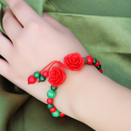 Red Coral Roses Canada - Original natural gem Jewelry Bohemian green gemstone bracelet New arrivals red corallite bracelet Hot carved lacquerware rose Beaded Strands
