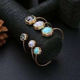 $enCountryForm.capitalKeyWord Canada - Vintage Turquoise stone Open Cuff Bracelet Round Natural Stone Beads Gold Plating Wristbands For Women Fashion Jewelry