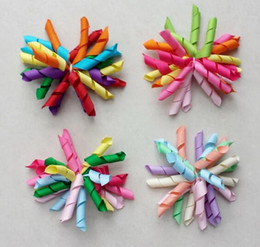 hair corkers NZ - 20pcs baby girls 3inch rainbow curlers Corker flowers bows hair clip hair ties korker ribbon hair bobbles elastic rope PD007