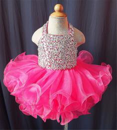 $enCountryForm.capitalKeyWord Canada - Cute Crystal Baby Girls Glitz Beaded Pageant Cupcake Dresses Infant Short Tutu Gowns Infant Halter Mini Baby Formal Wear