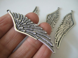 Discount gold fairy pendant - Wholesale-10pcs Antique Silver Tone Angel Fairy Wing   Feather Charms Pendants Beads 61mm Bird Fairy Wicca