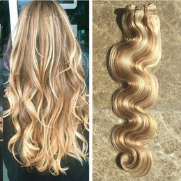 Discount piano hair weave - Fashional Style Brazilian Virgin Hair Body Wave 3 Bundles Mixed Color Honey Blonde 27# Bleach Blonde 613# Hightlight Omb