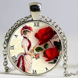 Pendants Designs For Girls NZ - exquisite design victorian lady clock and flowers pendant necklace diy jewelry for women girl
