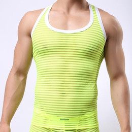 Barato Colete De Colete Transparente-Atacado- 2016 Fashion Brand Mesh Striped Transparent Men Sexy Fitness Tank Tops Gay Singlets Masculino Bodybuilding Vest Tamanho M L XL
