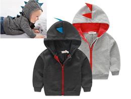 Boys Dinosaur Jacket Canada - 2017 toddler baby boys cute cartoon dinosaur hooded jacket tops coat sweatshirt hoodie 0~3Y