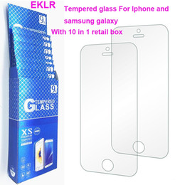 Discount retail packaging box for tempered glass - Top 10 in 1 Retail box package 9H tempered glass film For iphone x 8 6s 7 plus screen protector film front case