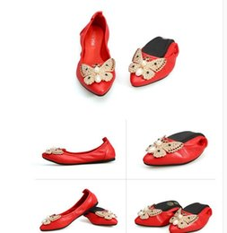 New arrival High Quality Classic Elegance Soft Bottom Leather Luxury  Personality Pearl butterfly Ladies Ballet Yoga Flat Shoes 4e5093f0bdd7