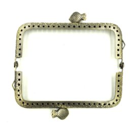 10pcs bronze tone double fish rectangle carved metal frame kiss clasp lock handle purse bag parts accessories 11x6cm - Metal Purse Frames