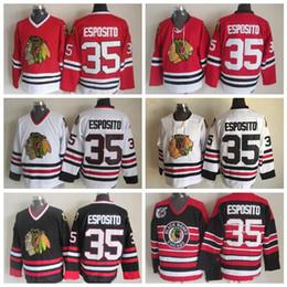 Vintage Chicago Blackhawks Hockey Jerseys # 35 Tony Esposito Inicio Rojo Vintage Tony Esposito 75th Anniversary Jersey negro cosida S-XXXL