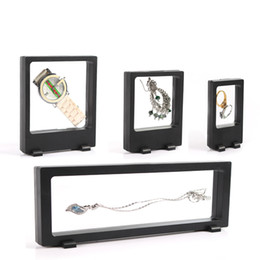 Earrings Display Cases Canada - 4Pcs Black PET Transparent Suspension Window Case Multifunctional Jewelry Earring Bracelet Bead Necklace Ring Display Stand Box Free Ship