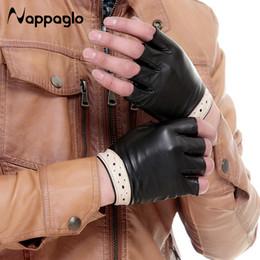 $enCountryForm.capitalKeyWord Australia - Wholesale- Nappaglo Spring Lovers Sheepskin Gloves Half Finger Hollow Style Genuine Leather Glove Drive Fingerless Mittens Driving Mittens