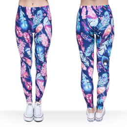 $enCountryForm.capitalKeyWord Canada - Women Leggings Feather 3D Graphic Print Lady Elastic Waist Band Skinny Stretch Sports Yoga Pants Girls Workout Capris Soft Trousers (J36750)