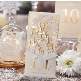 Wholesale Elegant Silver Pop Up 3D Invitation Card Laser Cut Gold Foil Wedding  Invitation Card 2016 New Wedding Invitations