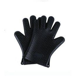 $enCountryForm.capitalKeyWord NZ - 2pcs Food Grade Heat Resistant Thick Silicone Kitchen Barbecue Oven Glove Cooking Non Stick BBQ Grill Gloves Mitt Baking Glove - Black