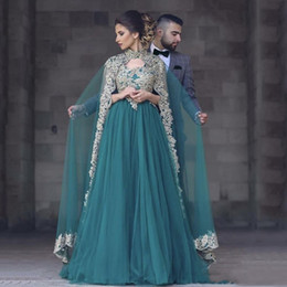 2019 Teal Turquoise Arabic Muslim Evening Dresses With Cape Scoop A Line Soft Tulle WIth Gold Lace Applique Long Prom Celebrity Gowns