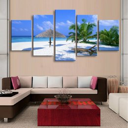 Art Canvas Prints Australia - 5 pieces high-definition print beach canvas painting poster and wall art living room picture PL5-178