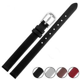 band belts UK - 6mm 8mm 10mm Black Brown Red White Genuine Cowhide Leather Waterproof Watch Bands Strap Bracelets belt + Tool