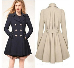 Peacoat Finement Ajusté Pas Cher-Femmes élégant manteau chaud Slim Fit Double-breasted Trench Long Veste Style Robe Outwear Sweety Lady Overcoat Peacoat Casaco Feminino