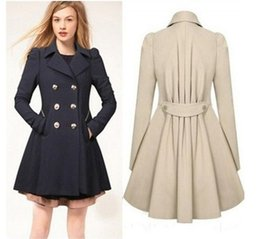Peacoat De Pecho Doble Baratos-Mujeres Elegante abrigo cálido Slim Fit Double-breasted Trench Long Vestido estilo Outwear Sweety Lady Overcoat Peacoat Casaco Feminino