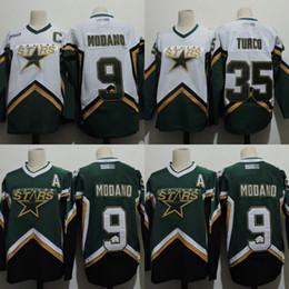 Mens Dallas Stars Jersey 9 Mike Modano 35 Marty Turco 100% Stitched  Embroidery Logos Hockey Jerseys White Green 11e17204a