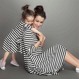 Mom Child Clothes NZ - Fashion mother and daughter dress stripe children clothing family matching outfits Baby Girls clothes dress mom kids Children clothing