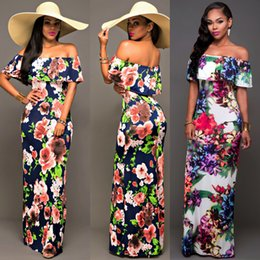 Robes De Plage Maxi Pas Cher Pas Cher-2017 Off the Shoulder Beach Robe à manches longues Robes imprimées florales à la mode