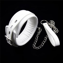 Discount bdsm chain restraints - White Collars Collar with Chain Fetish S&M Slave Neck Cuffs BDSM Bondage Restraints Sex Products for Couples Sex Toys Wo