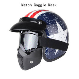 Adult Captain America Mask UK - 2017 Women and Men Captain America ABS Shell Open Face Helmet With Vintage Goggle Mask Retro Motorcycle 3 4 Helmets For Adults