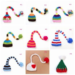 Costumes De Croche De Photographie Pas Cher-Cute Stripe Long Tail Hats Newborn Baby photographie Props Handmade Make Photoes Costume Tricoté Beanie Crochet Hat Caps TOP1930
