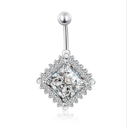 $enCountryForm.capitalKeyWord NZ - Shiny 18K White Gold Plated Clear Crystal Around Big Rhombus Cubic Zirconia CZ Piercing Navel Belly Button Ring Hot Gift for Women