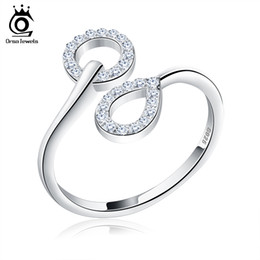 orsa rings 2019 - ORsa Fashion Jewelry New Arrived Genuine 925 Silver Wedding Bands Adjustable Finger Rings For Women SR09 cheap orsa ring