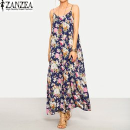 Venta Al Por Mayor Maxi De Los Vestidos De Las Mujeres Baratos-Al por mayor-ZANZEA 2017 Summer Womens sin tirantes Sexy Floral Beach Party Casual Maxi vestido largo Sundress