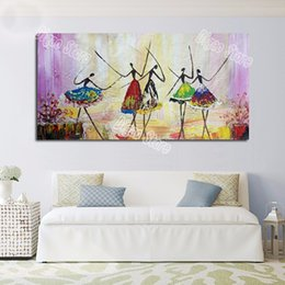 Discount dancer wall art - 100% Hand painted figures oil painting on canvas modern abstract ballet dancer paintings home wall art decoration gift