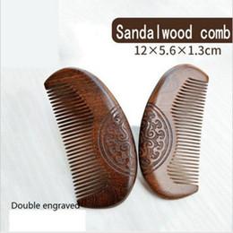 Discount sandalwood hair comb - Pocket Wooden Comb Natural Green Sandalwood Super Narrow Tooth Wood Combs No Static Lice Pet Beard Comb Hair Styling Too
