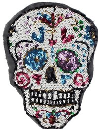 Perles De Tissus Pas Cher-Fabricants Spot Beads Embroidered Skulls Sequins Tissus Autocollants Autocollants Autocollants Autocollants Affinés Accessoires