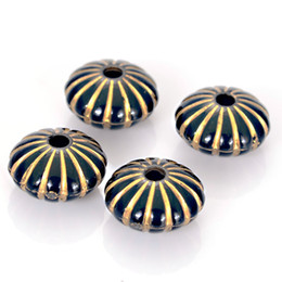 Shape Flat Canada - 100 Pcs 8x14mm Acrylic Stripped Flat Round Shape Plastic Antique Design Beads For Diy Jewelry Bracelets Making Accessories