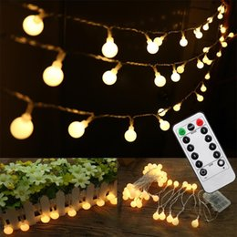 16 feet 50 led outdoor globe string lights 8 modes battery operated frosted white ball fairy light dimmable ip65 waterproof - Bulk Led Christmas Lights
