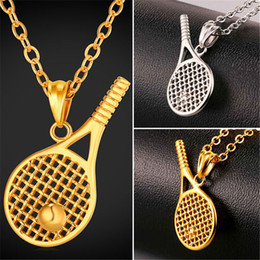 Chain tennis online shopping - U7 New Tennis Racket Pendant Necklace Sports Stainless Steel Gold Plated Link Chain Fitness Jewelry Collier Femme Perfect Accessories GP2420