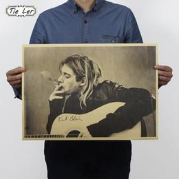 Wall Stickers Rock Canada - Wholesale- TIE LER Kurt Cobain Nirvana Frontman Rock Poster Kraft Paper Cafe Bar Poster Retro Poster Wall Sticker