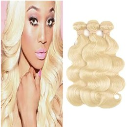 Discount best tangle free human hair 8A Brazilian Body Wave Hair 100% virgin human Hair Extensions Hair Wefts body wave blonde weave #613 Dyeable Tangle Free