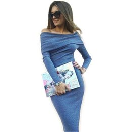 b4aed6057427 Women Knitted Sweater Dress Autumn sexy Slash Neck Bandage Dresses Off  Shoulder Dress female Elegant Long Sleeve Office midi party dress