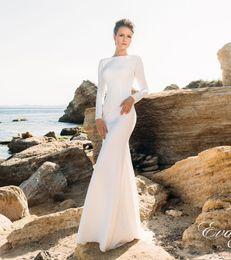 Vestidos de boda simples de la playa de la envoltura sin respaldo de la manga larga 2017 eva lendal nupcial bateau neckline tren de barrido vestidos de boda nupciales