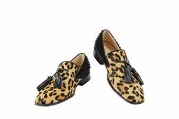 $enCountryForm.capitalKeyWord Canada - Leopard Horsehair Leather Tassel Fringe Flats Shoes Rivets Stud Patchwork Men Loafers Slip On Men Shoes