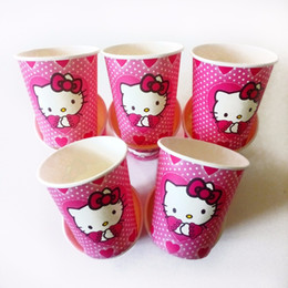 Discount theme party supplies wholesale - Wholesale- 10pcs lot Hello Kitty Cup Cartoon Birthday Decoration Theme Party Supply Festival hello kitty birthday party