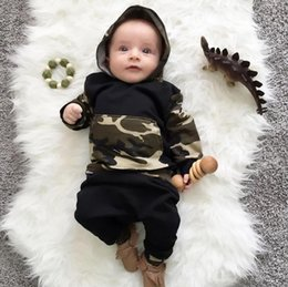 baby mustache clothes Canada - 2017 Spring Autumn Ins Infant Baby Set Kids Camouflage Mustache Hooded Tops Tshirt + Pants 2pcs Clothing Suit Children Outfits